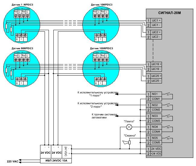 Cхема подключения датчиков